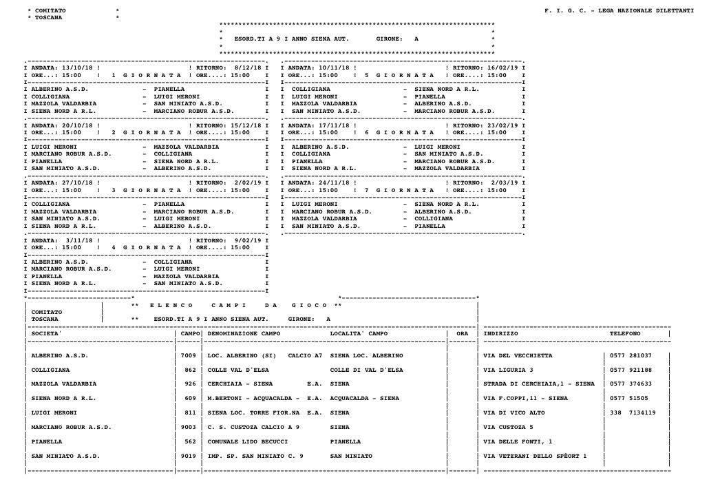 Calendario Figc Pulcini 2006.Calendario Esordienti B G S Alberino A S D